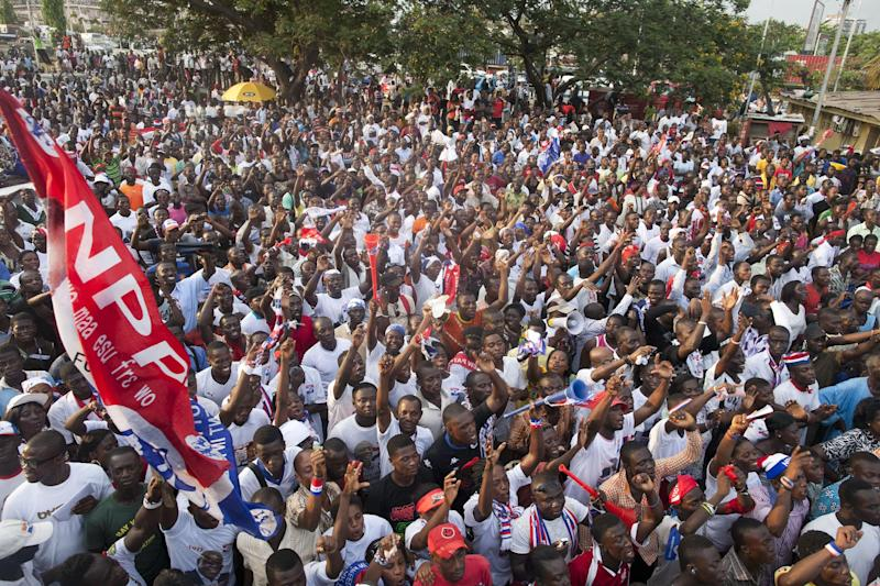 Supporters of the opposition New Patriotic Party cheer their presidential candidate Nana Akufo-Addo, unseen, during a rally to protest the results of last Friday's presidential election, in Accra, Ghana, on Tuesday, Dec. 11, 2012. Ghana's opposition party said Tuesday that they plan to contest the results of the election, ignoring the appeals of the international community, which fears that a protracted political fight could destabilize one of the only established democracies in the region. Akufo-Addo, who lost the 2008 presidential election by less than one percent, finished with 47.7 percent of Friday's vote, placing him second behind President John Dramani Mahama. (AP Photo/Gabriela Barnuevo)