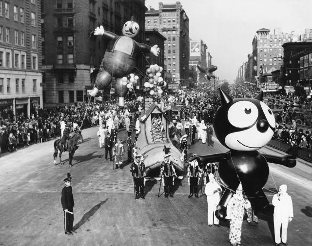 A Felix the Cat balloon and other parade floats and balloons are led down Broadway during the annual Macy's Thanksgiving Day Parade in 1930. (Photo: Underwood & Underwood/Corbis/Getty Images)