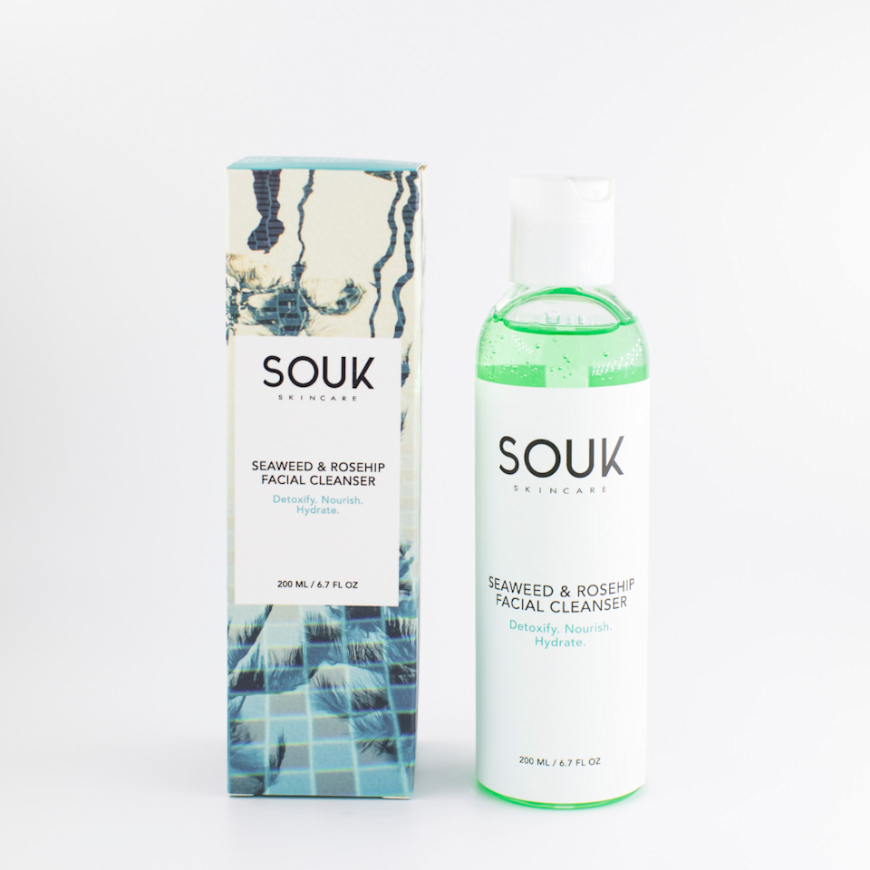 """<p>soukskincare.com</p><p><strong>$28.00</strong></p><p><a href=""""https://soukskincare.com/collections/cleansers/products/seaweed-rosehip-facial-cleanser"""" rel=""""nofollow noopener"""" target=""""_blank"""" data-ylk=""""slk:Shop Now"""" class=""""link rapid-noclick-resp"""">Shop Now</a></p><p>I'm always down to try products with <a href=""""https://www.cosmopolitan.com/style-beauty/beauty/a27334471/j-beauty-superfood-skincare/"""" rel=""""nofollow noopener"""" target=""""_blank"""" data-ylk=""""slk:unique ingredient combinations"""" class=""""link rapid-noclick-resp"""">unique ingredient combinations</a> -- and this one definitely has that. I didn't know what to expect from a seaweed and rosehip face cleanser. But what I got was pure perfection!<strong> The seaweed helps to promote collagen, while the rosehip brightens and smoothes the skin</strong>. You can't lose with this find. </p>"""