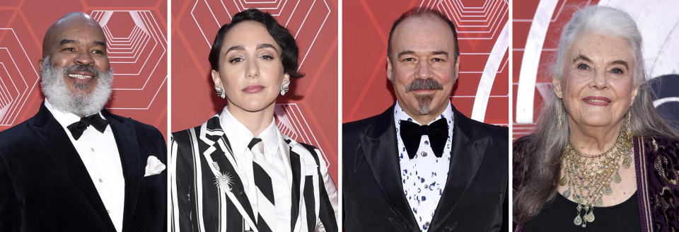 This combination photo shows from left, David Alan Grier, Lauren Patten, Danny Burstein and Lois Smith at the 74th annual Tony Awards at Winter Garden Theatre on Sunday, Sept. 26, 2021, in New York. (Photo by Evan Agostini/Invision/AP)