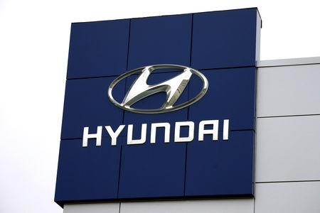 FILE PHOTO The Hyundai logo is seen outside a Hyundai car dealer in Golden