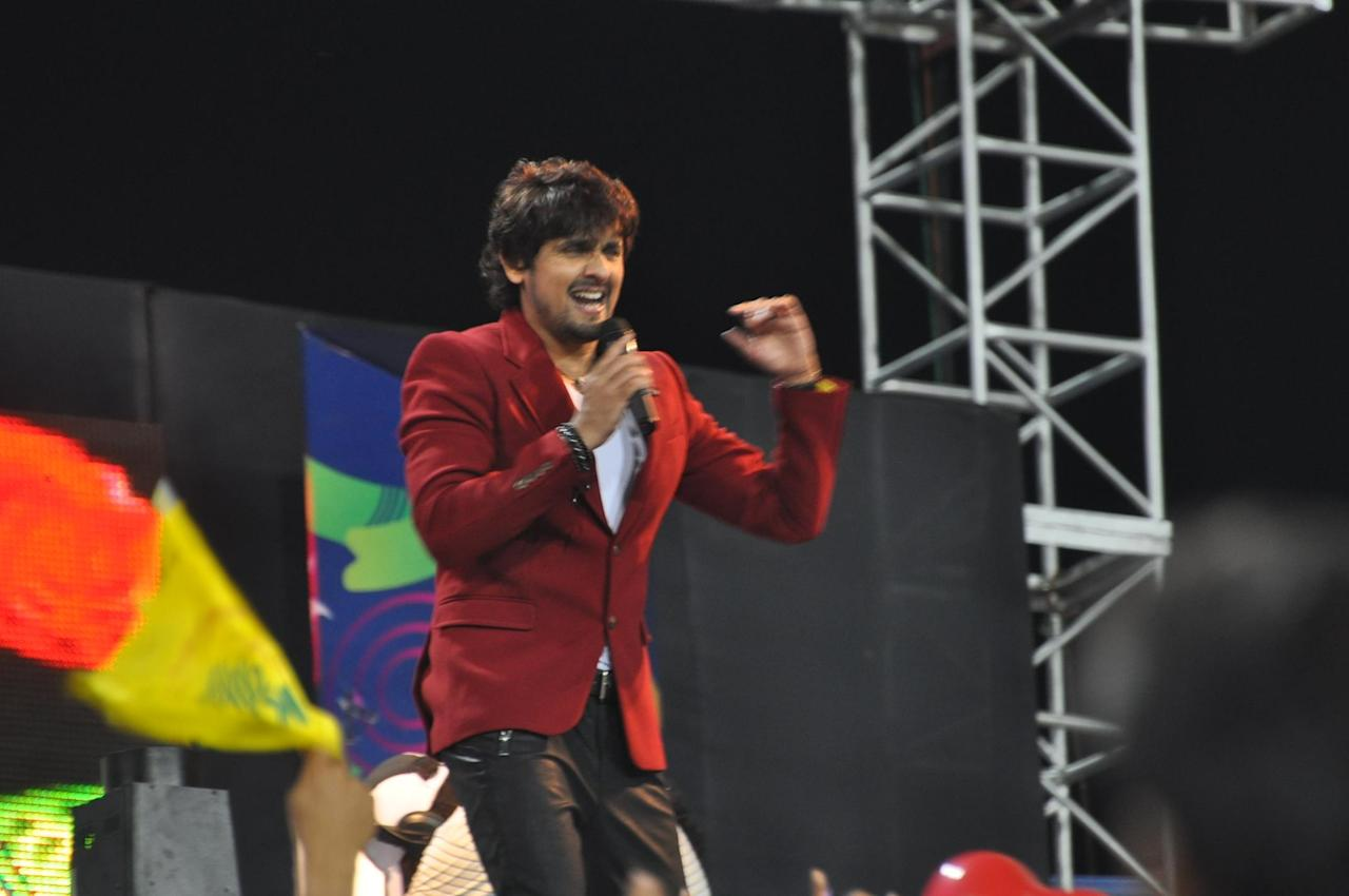 Singer Sonu Nigam gives a live performace during the Champions League Twenty20 match at Jharkhand State Cricket Association (JSCA) International Cricket Stadium in Ranchi on Sept. 28, 2013. (Photo: IANS)