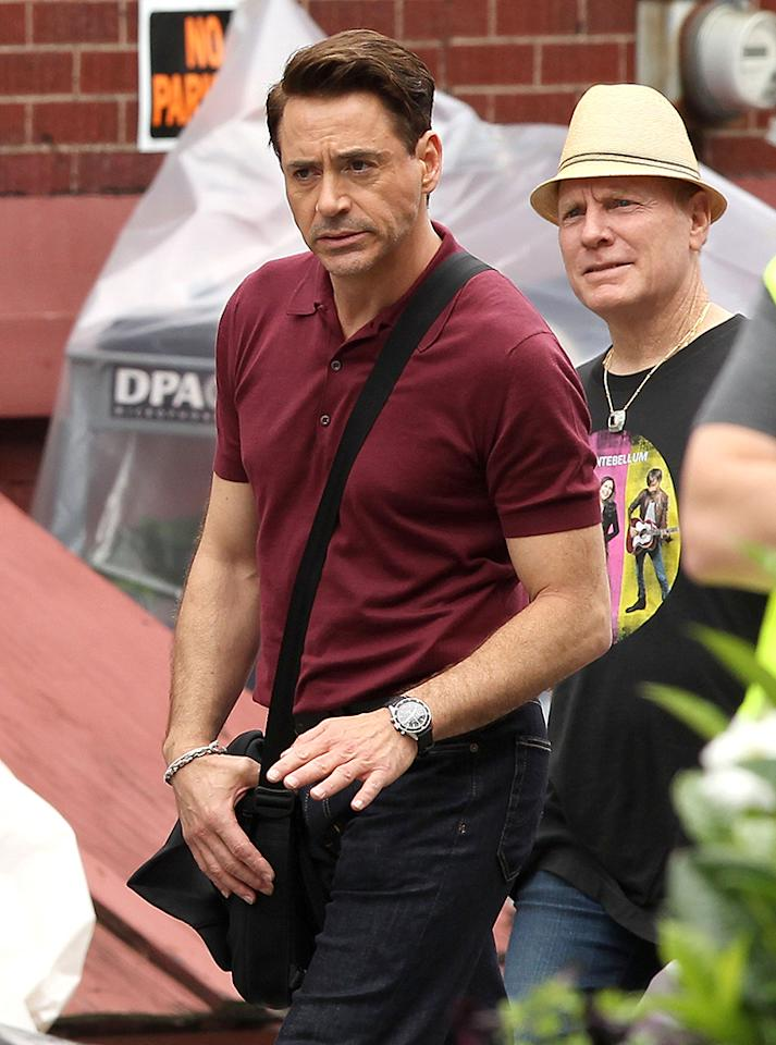 "Exclusive... 51119124 ""Iron Man"" star Robert Downey Jr. steps away from the metal suit to tackle a new role on the set of ""The Judge"" on June 3, 2013 in Shelburne Falls, Massachusetts. FameFlynet, Inc - Beverly Hills, CA, USA -  1 (818) 307-4813"