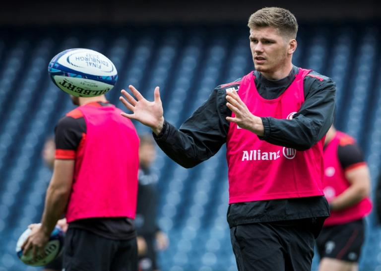 Saracens and England fly-half Owen Farrell takes part in a training session at Murrayfield Stadium in Edinburgh in May 2017
