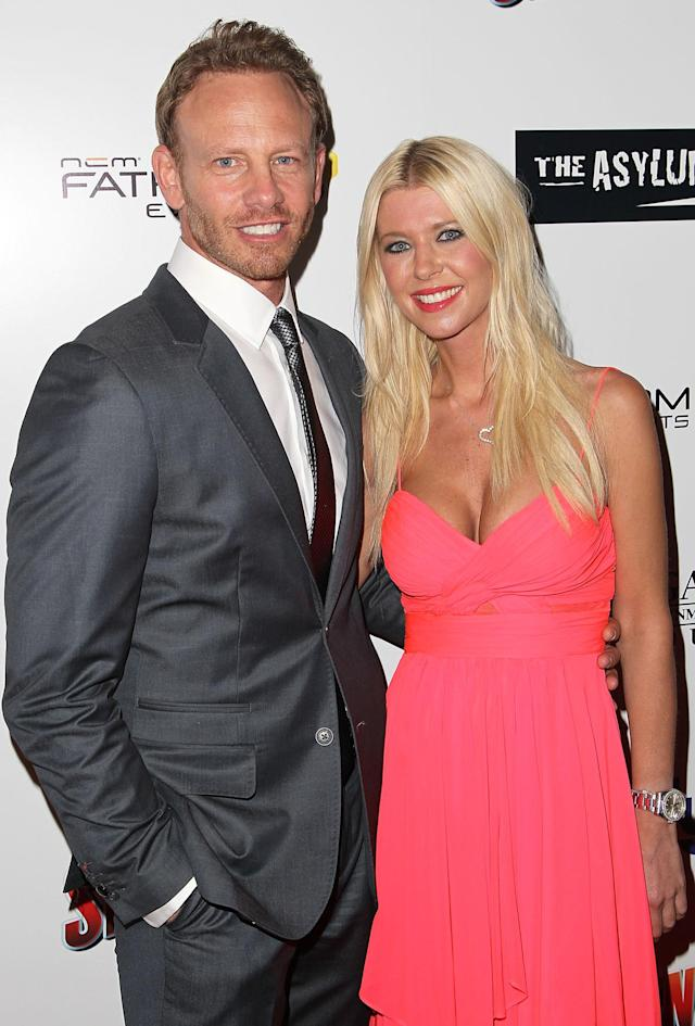 """LOS ANGELES, CA - AUGUST 02: (L-R) Actors Ian Ziering and Tara Reid arrive to the """"Sharknado"""" - Los Angeles Premiere at L.A. LIVE on August 2, 2013 in Los Angeles, California. (Photo by Jonathan Leibson/WireImage)"""