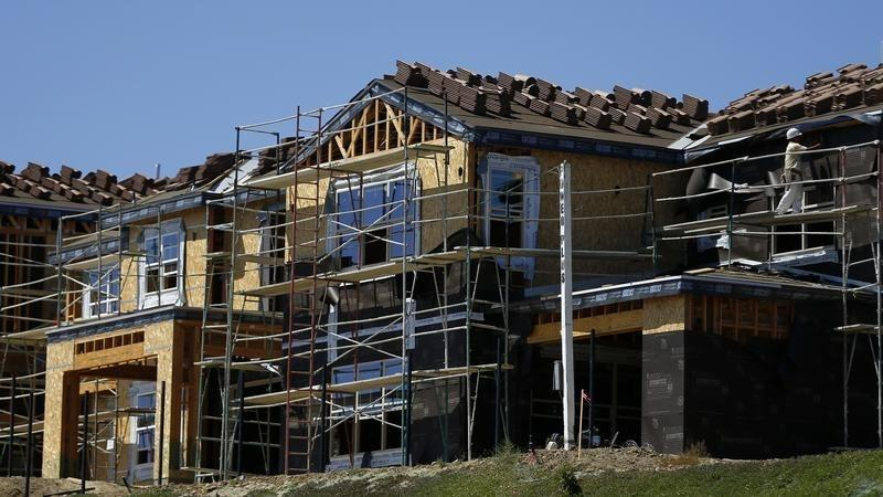Scaffolding is seen at the construction site of a new home in Carlsbad