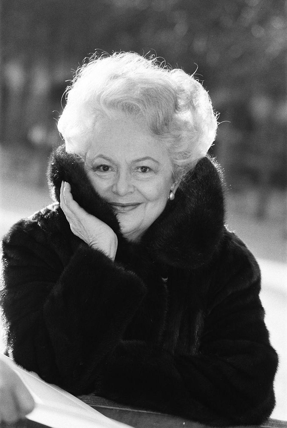 <p>In 1987, she was captured in a fur coat outside her Paris home. </p>