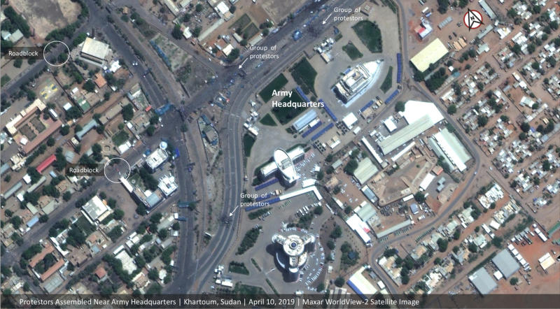 This Wednesday, April 10, 2019 satellite image shows Khartoum, Sudan during massive protests. Sudan's military overthrew President Omar al-Bashir on Thursday amid increasingly bloody protests over his repressive 30-year rule and the deteriorating economy. But pro-democracy demonstrators were left angry and disappointed when the defense minister announced the armed forces will govern for the next two years.(Satellite image ©2019 Maxar Technologies via AP)