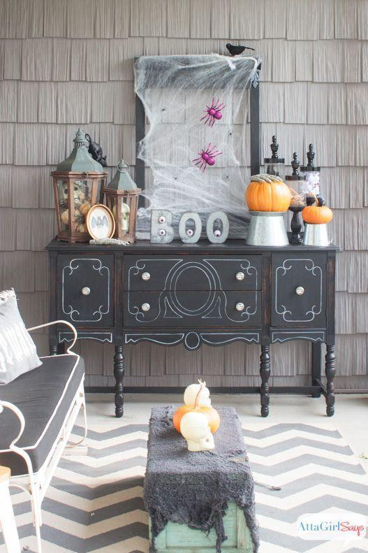 """<p>This spooky setup, fashioned from a thrifted dresser, is the perfect spot to serve treats to kiddos and cocktails to grown-ups.</p><p><strong>Get the tutorial at <a href=""""https://www.attagirlsays.com/scary-halloween-decorations-for-the-front-porch/"""" rel=""""nofollow noopener"""" target=""""_blank"""" data-ylk=""""slk:Atta Girl Says"""" class=""""link rapid-noclick-resp"""">Atta Girl Says</a>.</strong> </p>"""