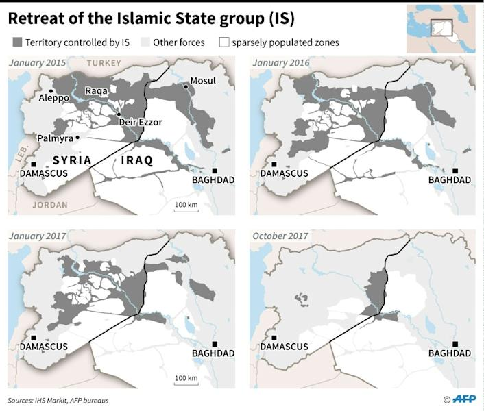 Four phases in the control and loss of Syrian and Iraqi territory by the Islamic State (IS) group between January 2015 and October 17, 2017