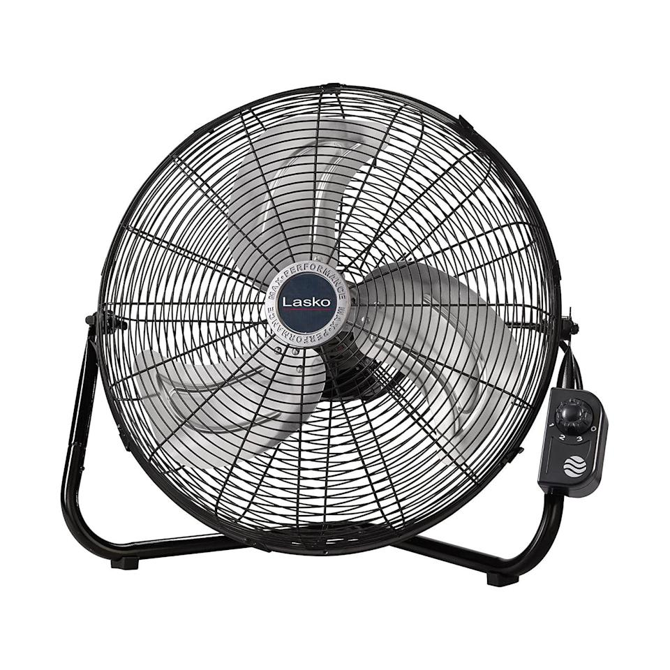 """<p><strong>Lasko</strong></p><p>amazon.com</p><p><strong>$75.96</strong></p><p><a href=""""https://www.amazon.com/dp/B004IS6JBY?tag=syn-yahoo-20&ascsubtag=%5Bartid%7C2141.g.27224793%5Bsrc%7Cyahoo-us"""" rel=""""nofollow noopener"""" target=""""_blank"""" data-ylk=""""slk:Shop Now"""" class=""""link rapid-noclick-resp"""">Shop Now</a></p><p>Trying to cool down a large space? Go with this powerful option from Lasko, which isn't quiet, but does the job exceptionally well and boasts thousands of rave reviews on Amazon. """"This is <strong>the workhorse you want on a miserable hot day</strong>,"""" one says. """"I have never paid quite this much for a fan, but I would make this purchase again in a heartbeat.""""</p>"""