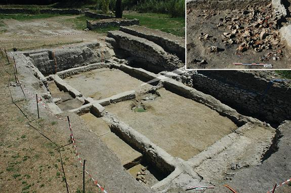 Remains of Etruscan merchants' quarters in Lattara, France, where large amphoras, or jars, containing traces of wine were discovered (inset).