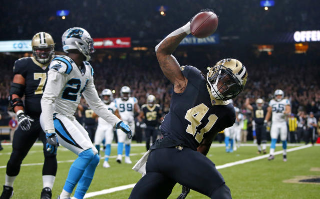 Running back Alvin Kamara, who scored a TD in Sunday's Saints victory, proved to be a great find in the 2017 NFL draft. (AP)