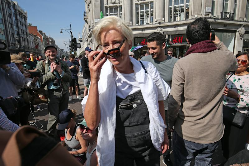 Actress Emma Thompson joins Extinction Rebellion demonstrators at Oxford Circus in London.