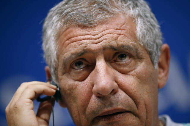 Portugal head coach Fernando Santos listens to questions during a news conference on the eve of the group B match between Portugal and Iran at the 2018 soccer World Cup in the Mordovia Arena stadium in Saransk, Russia, Sunday, June 24, 2018. (AP Photo/Francisco Seco)
