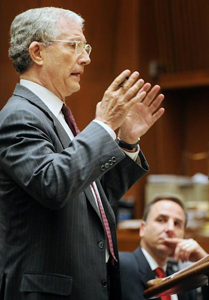 Defense attorney Jeffrey Denner gives his final arguments to the jurors in the trial of Christian Karl Gerhartsreiter, at Clara Shortridge Foltz Criminal Justice Center in Los Angeles, Monday, April 8, 2013. Gerhartsreiter is accused of killing John Sohus in 1985, the year Sohus and his wife disappeared. (AP Photo/The Pasadena Star-News, Walt Mancini, Pool)