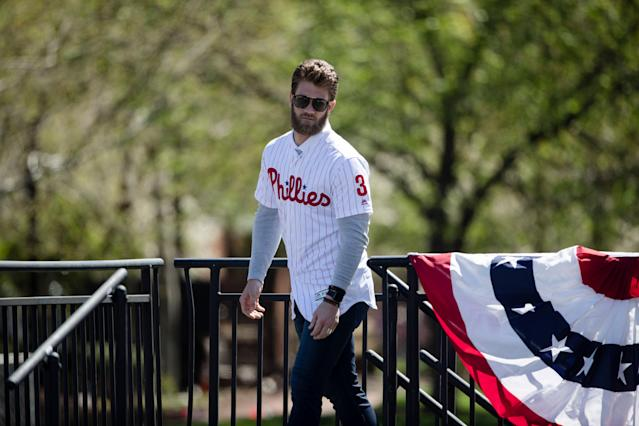 "More than 300 <a class=""link rapid-noclick-resp"" href=""/mlb/players/8875/"" data-ylk=""slk:Bryce Harper"">Bryce Harper</a> jerseys have been seized at the border. (AP)"