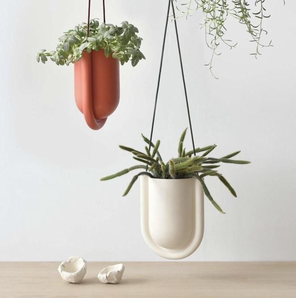 <p>Available in blush or white, the <span>West Elm Misewell Portico Hanging Planter</span> ($119) has a minimal yet eye-catching design that your artistic friends or relatives will appreciate.</p>