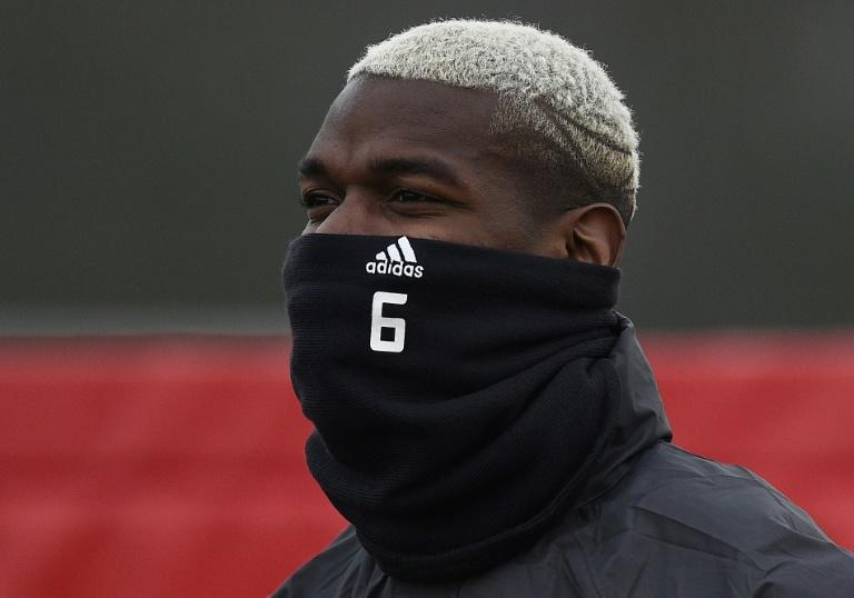 Manchester United midfielder Paul Pogba trains on February 15, 2017, on the eve of his side's Europa League clash with Saint-Etienne