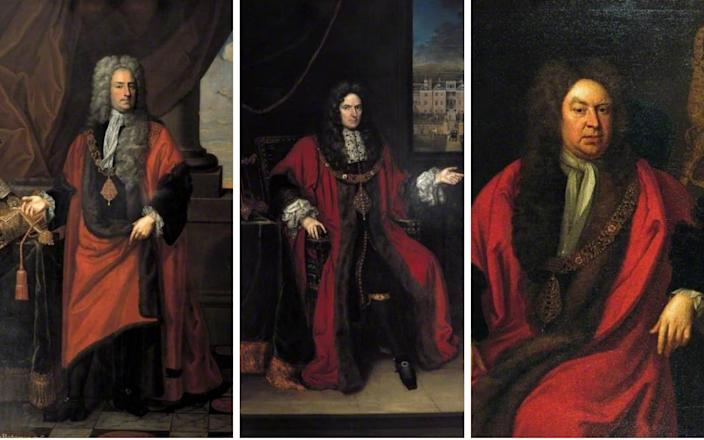 The portraits of Sir James Bateman (L), Sir Robert Clayton (C) Sir Gilbert Heathcote (R) have quietly been removed from public view - Bank of England