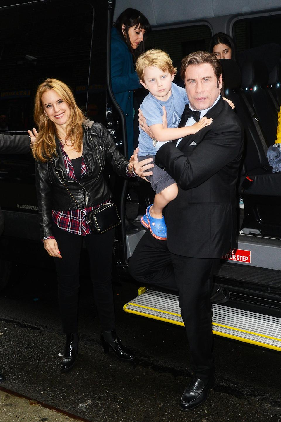 """<p>After two hard years following the sudden death of their 16-year-old son, Jett, Preston and John Travolta became parents again when she was 48. """"It's pretty amazing having a child at this age,"""" Preston told <em><a href=""""http://www.health.com/health/article/0,,20513855,00.html"""" rel=""""nofollow noopener"""" target=""""_blank"""" data-ylk=""""slk:Health"""" class=""""link rapid-noclick-resp"""">Health</a></em> in March 2013. """"We had been trying for quite a few years, and then of course there was a time when we weren't, and then we started trying again. When I found out I was pregnant, I was floored. I'd snuck out of bed and then came back and woke Johnny up in bed. We both started crying. It was wonderful."""" (Photo: Ray Tamarra/Getty Images) </p>"""