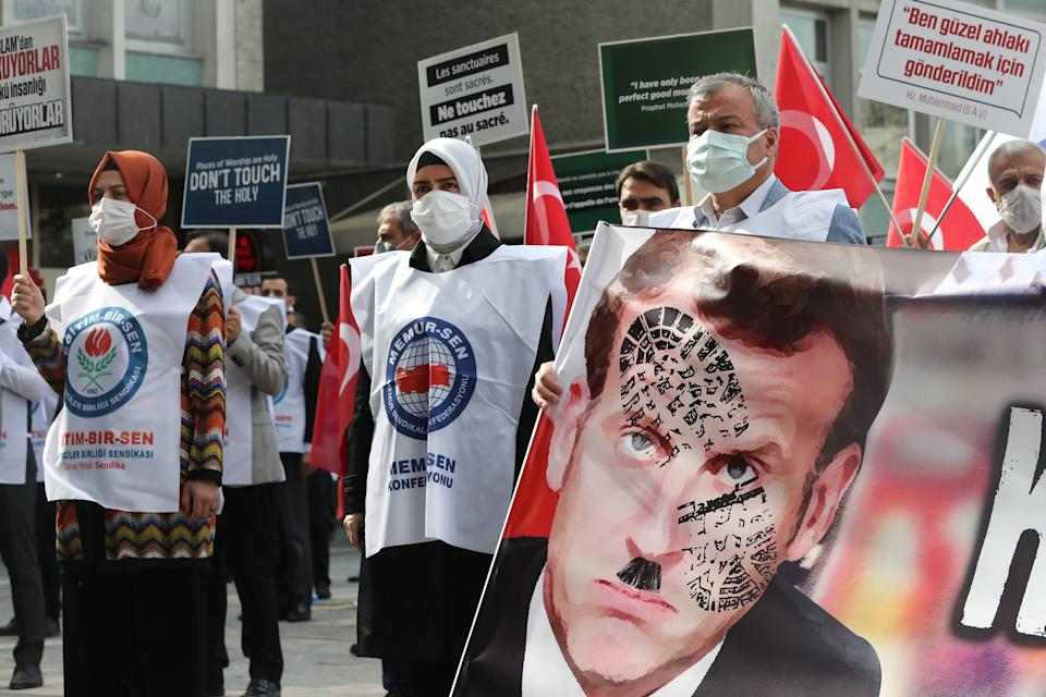 Anti-Macron-Protest in Ankara am Dienstag (Bild: Adem Altan/AFP)