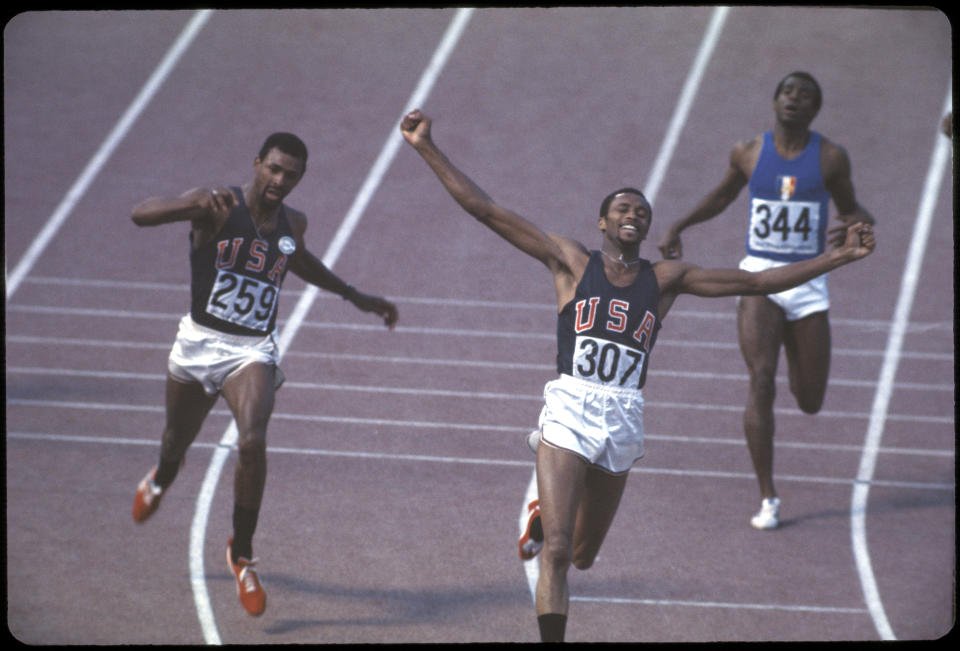 12-27 OCT 1968:  Tommie Smith (307) of the US wins the gold medal in the 200m and John Carlos (259) finishes 3rd at the Olympics in Mexico City, Mexico. Smith set a world record a time of 19.83 seconds...Photo:  © Rich Clarkson / Rich Clarkson & Associates