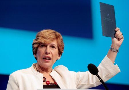 Weingarten, president of the AFT, addresses the audience of public school teachers during a convention in Detroit