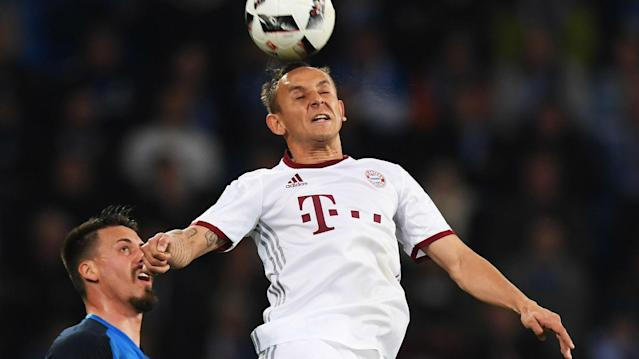 Bayern Munich face back-to-back games against Borussia Dortmund and Real Madrid over the next six days and Rafinha is eyeing the treble.