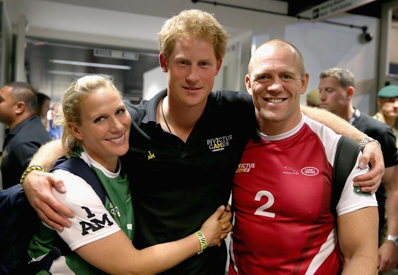 Zara Tindall with Mike Tindall and Prince Harry (Getty Images)