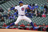 Chicago Cubs starting pitcher Adbert Alzolay delivers during the first inning of a baseball game against the Cincinnati Reds, Friday, May 28, 2021, in Chicago. (AP Photo/Charles Rex Arbogast)