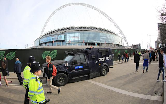 <span>One of the armored vehicles around Wembley before England's game with Lithuania</span> <span>Credit: Rex Features </span>