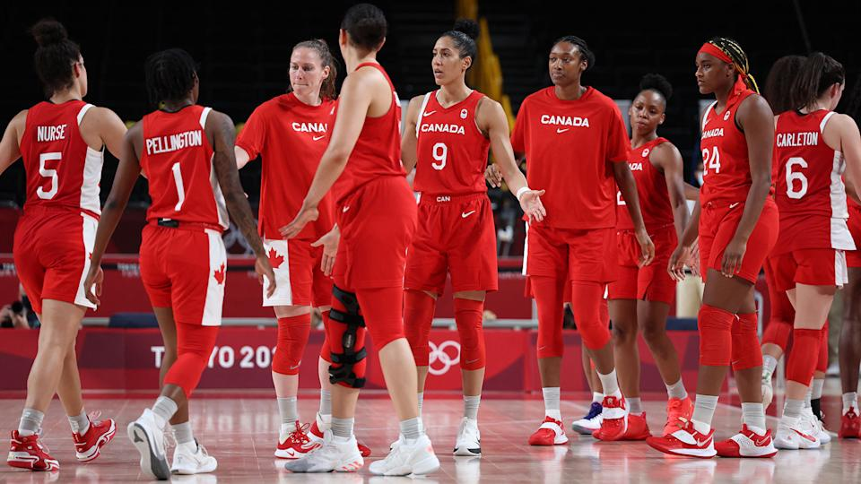 Canada's players react after they defeat in the women's preliminary round group A basketball match between Serbia and Canada during the Tokyo 2020 Olympic Games at the Saitama Super Arena in Saitama on July 26, 2021. (Photo by Thomas COEX / AFP) (Photo by THOMAS COEX/AFP via Getty Images)