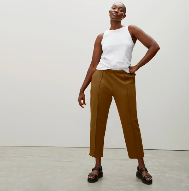 The Dream Pant in Copper Brown. Image via Everlane.