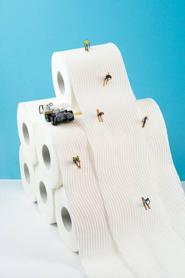 """Day 345's shot featured a ski hill made of toilet paper rolls. """"Nothing like being the first out after freshly groomed ski hills,"""" wrote LeBlanc."""