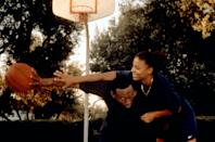 """<p>Childhood sweethearts and best friends, Monica and Quincy, can't live without basketball. As the pair grow up, the goal is to play professional ball; however, they quickly realize their relationship may not be strong (or important) enough to weather the storm.</p> <p><a href=""""http://www.hulu.com/movie/love-basketball-30ff0f8b-76b3-41fe-8d83-526c9d175872"""" class=""""link rapid-noclick-resp"""" rel=""""nofollow noopener"""" target=""""_blank"""" data-ylk=""""slk:Watch Love &amp; Basketball on Hulu."""">Watch <strong>Love &amp; Basketball</strong> on Hulu.</a></p>"""