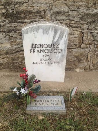 The tombstone of Italian soldier Erriquez Francesco is seen at a cemetery for German and Italian prisoners of war at the Fort Reno Prisoners of War Cemetery in El Reno Oklahoma in this picture taken May 28, 2014. REUTERS/Heide Brandes