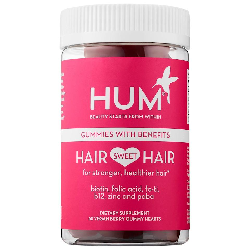 """<p>Naturally these <span>Hum Nutrition Hair Sweet Hair Growth - Vegan Gummies</span> ($10-$25) have biotin and folic acid to help with hair growth, but they also add in the tonic herb, fo-ti, which is used in traditional Chinese medicine to help scalps stay healthy, too.<br><br> <em>Love all things beauty? Can't get enough products? Come join our Facebook Group, <a href=""""https://www.facebook.com/groups/389401751481325/"""" class=""""link rapid-noclick-resp"""" rel=""""nofollow noopener"""" target=""""_blank"""" data-ylk=""""slk:Real Reviews With POPSUGAR Beauty""""><span class=""""s1"""">Real Reviews With POPSUGAR Beauty</span></a> There are lots of fun conversations happening there, as well as all the product recommendations you could ask for - not just from us, but also community members, too.</em></p>"""