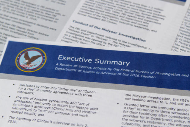 Part of the Department of Justice inspector general's report released in Washington, D.C., on June 14, 2018. (Photo: Jon Elswick/AP)