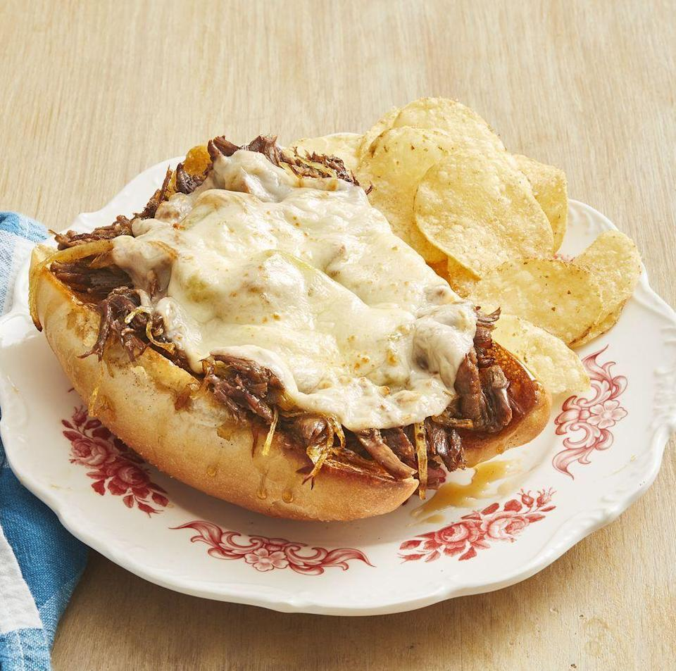 """<p>You'll be pleasantly surprised to learn the shredded beef for these sandwiches can be made in your slow cooker!</p><p><strong><a href=""""https://www.thepioneerwoman.com/food-cooking/recipes/a32436798/slow-cooker-drip-beef-sandwiches-recipe/"""" rel=""""nofollow noopener"""" target=""""_blank"""" data-ylk=""""slk:Get the recipe."""" class=""""link rapid-noclick-resp"""">Get the recipe.</a></strong><br></p><p><strong><a class=""""link rapid-noclick-resp"""" href=""""https://go.redirectingat.com?id=74968X1596630&url=https%3A%2F%2Fwww.walmart.com%2Fip%2FThe-Pioneer-Woman-Flea-Market-Floral-6-Quart-Portable-Slow-Cooker%2F815735002&sref=https%3A%2F%2Fwww.thepioneerwoman.com%2Ffood-cooking%2Fmeals-menus%2Fg32933285%2Fcomfort-food-recipes%2F"""" rel=""""nofollow noopener"""" target=""""_blank"""" data-ylk=""""slk:SHOP SLOW COOKERS"""">SHOP SLOW COOKERS</a><br></strong></p>"""