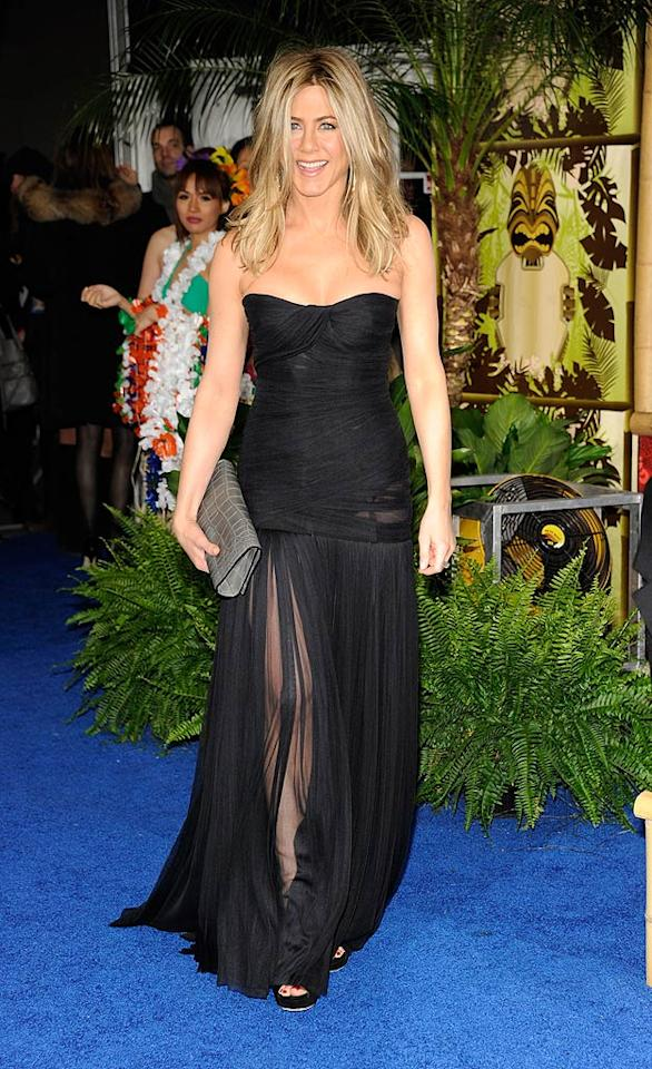 """It's been quite some time since we've seen Jennifer Aniston on the red carpet, but the foxy 41-year-old made a triumphant return upon arriving at the New York premiere of """"Just Go with It"""" in a strapless Dolce & Gabbana stunner. A Burberry clutch, Gucci heels, and Fred Leighton jewels completed the former """"Friends"""" star's luxurious look. Kevin Mazur/<a href=""""http://www.wireimage.com"""" target=""""new"""">WireImage.com</a> - February 8, 2011"""