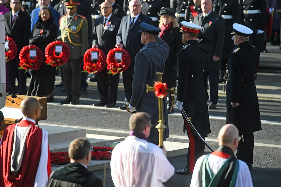 The Duke of Cambridge and the Duke of Sussex followed their father in laying wreaths (Picture: Kirsty O'Connor/PA Wire)