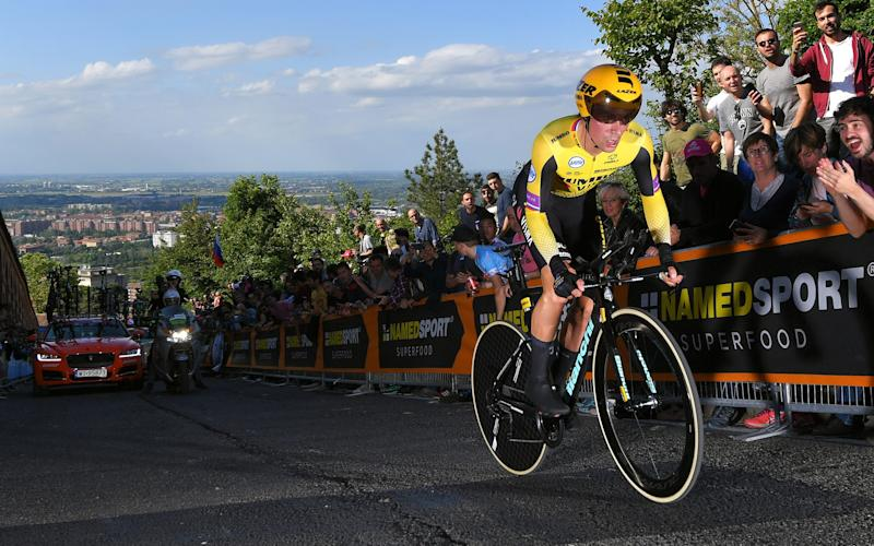 Primoz Roglic rides towards the first maglia rosa of his career on the opening day of the Giro d'Italia - 2019 Getty Images