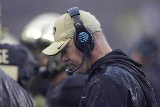 Purdue head coach Jeff Brohm watches during the second half of an NCAA college football game against Illinois, Saturday, Oct. 26, 2019, in West Lafayette, Ind. (AP Photo/Darron Cummings)