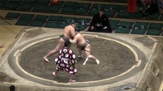 The shot from Mamu that ended the bout in seconds. Pic: Sumo Channel