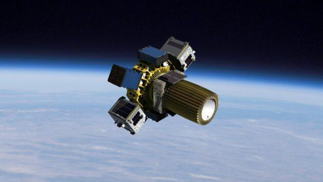 An artist's conception shows Spaceflight's Sherpa-FX, the first orbital transfer vehicle to debut in the company's Sherpa-NG (next generation) program. The vehicle is capable of executing multiple deployments, as well as providing independent and detailed deployment telemetry. (Spaceflight Inc. Illustration)