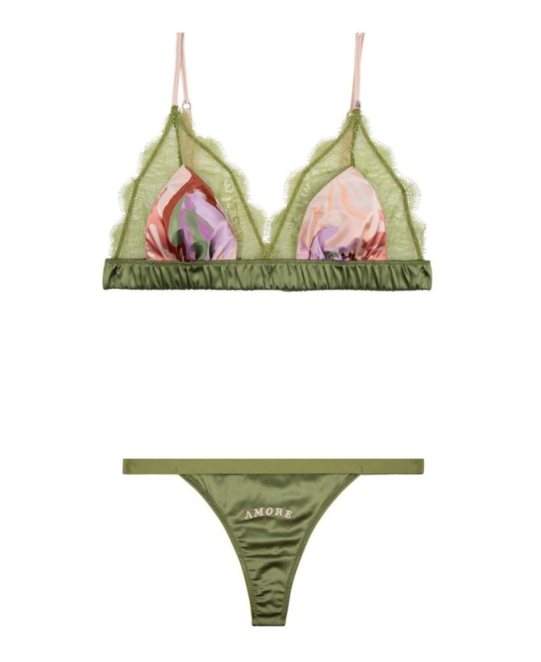 """It's easy to feel complete when your bra and underwear match, but Love Stories makes perfectly mismatched lingerie with printed silk and lace sets that are just as fun to buy as they are to wear. $70, Love Stories. <a href=""""https://lovestoriesintimates.com/en/love-lace-bralette-l2021005930.html"""">Get it now!</a>"""