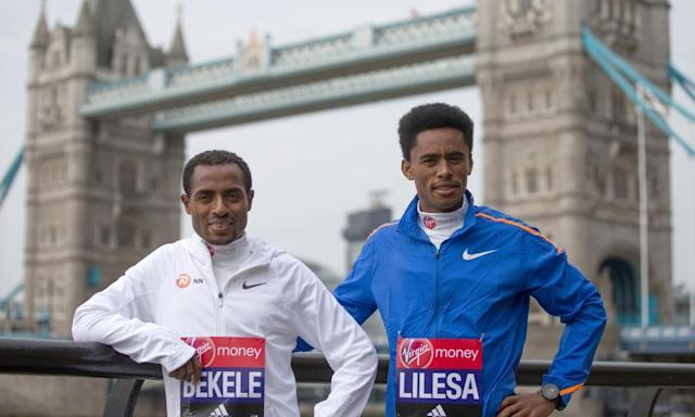 """<span class=""""element-image__caption"""">Kenenisa Bekele, left, hopes to break the world record in Sunday's London Marathon, but will face tough competition, not least from his fellow Ethiopian Feyisa Lilesa.</span> <span class=""""element-image__credit"""">Photograph: Daniel Leal-Olivas/AFP/Getty Images</span>"""