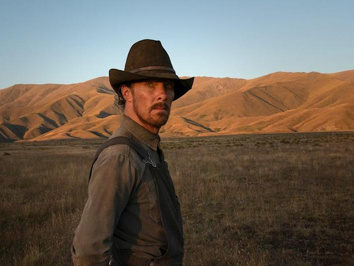 Cumberbatch plays a  laconic, physically imposing rancher in 'The Power of the Dog'  (Kirsty Griffin/Netflix)