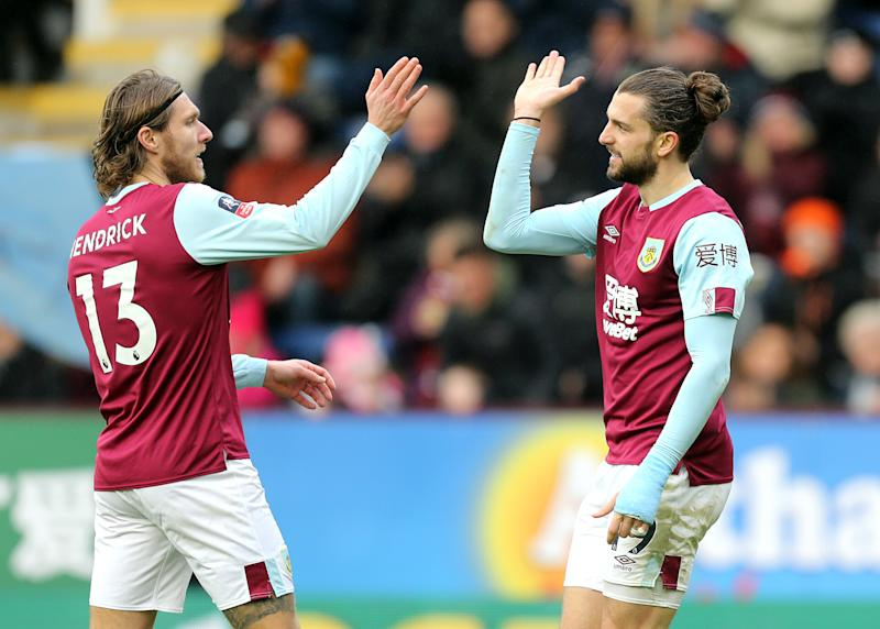 Burnley's Jay Rodriguez celebrates with team-mate Jeff Hendrick. (Credit: Getty Images)